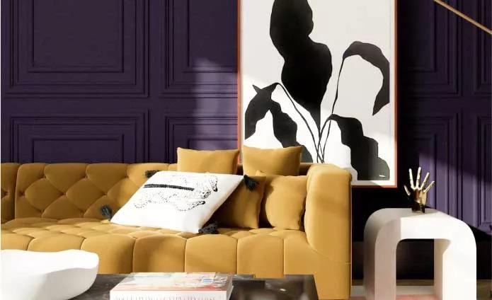 purple wall color yellow couch