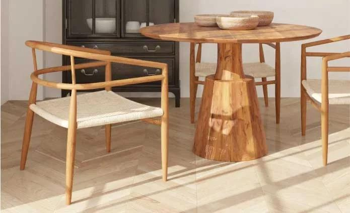 light blonde wood table and chairs