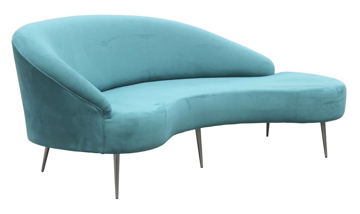 Modern Teal Blue Velvet Serpentine Sofa